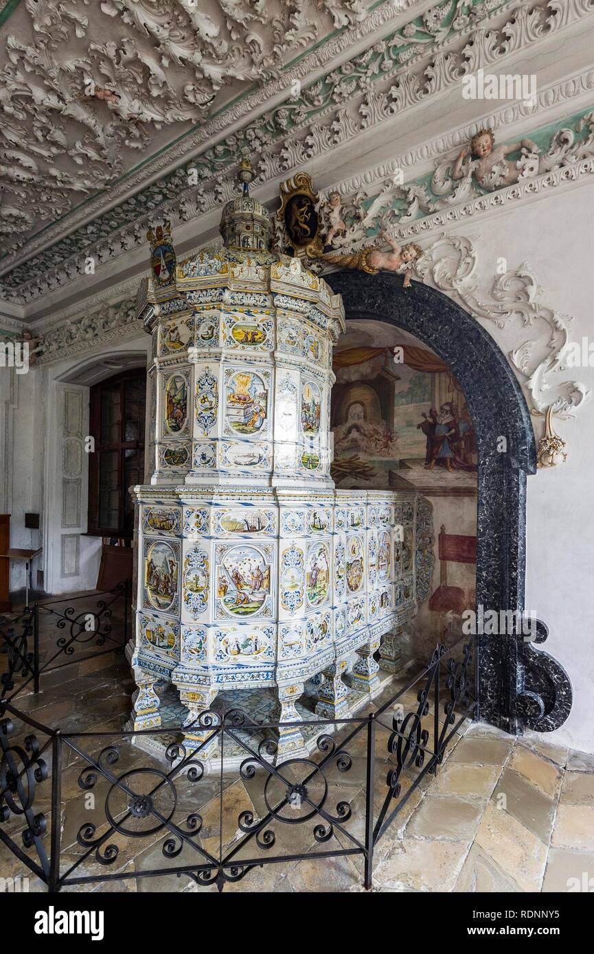 Tiled stove, summer refectory, imperial abbey Salem, monastery of the Cistercian order, Linzgau, Lake Constance - Stock Image