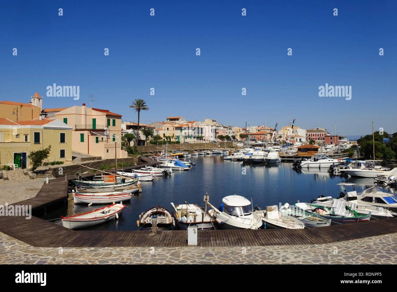 Fishing port of Stintino, Sassari Province, Northern Sardinia, Italy, Europe - Stock Image