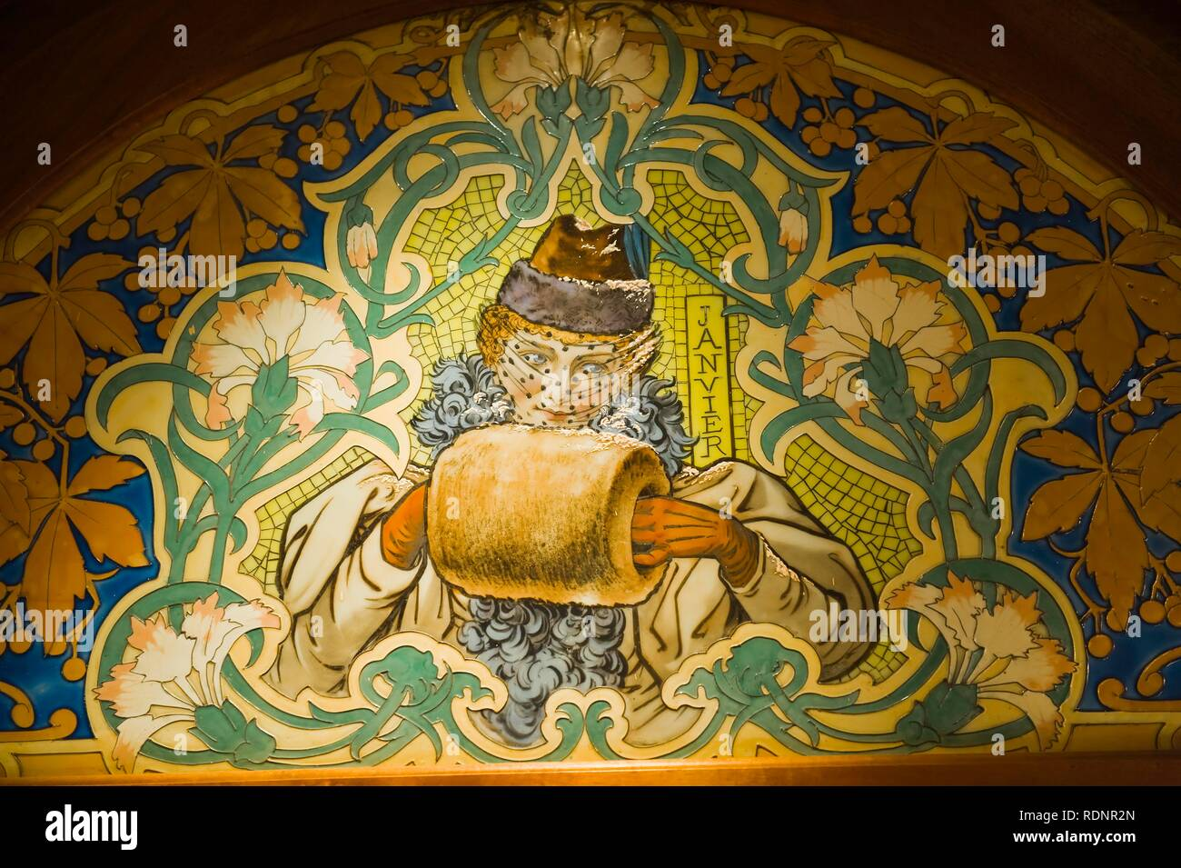Art Deco mosaics in a bistrot, Lyon, France, Europe - Stock Image