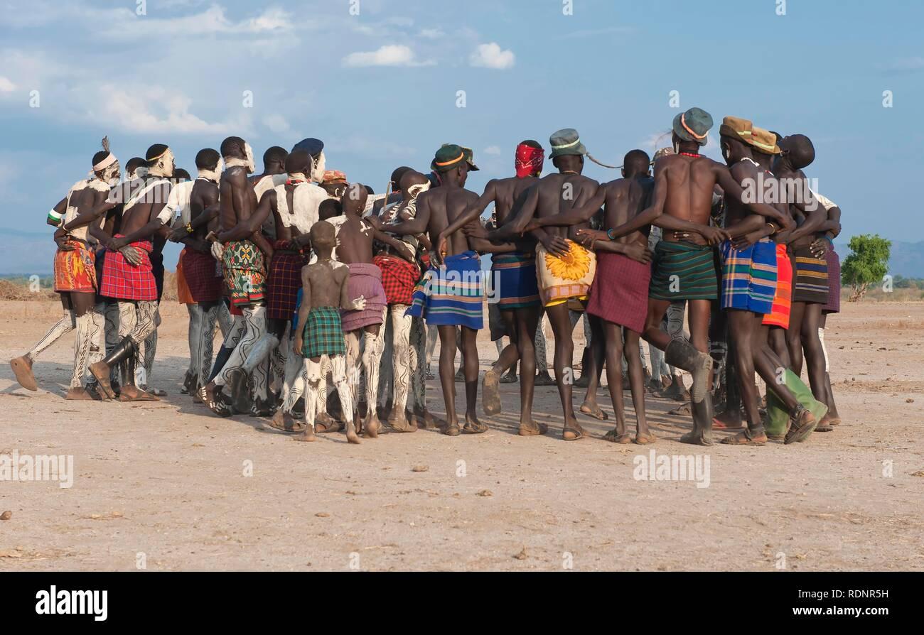 Nyangatom, Bumi, tribal dance ceremony, Omo river Valley, Ethiopia, Africa Stock Photo