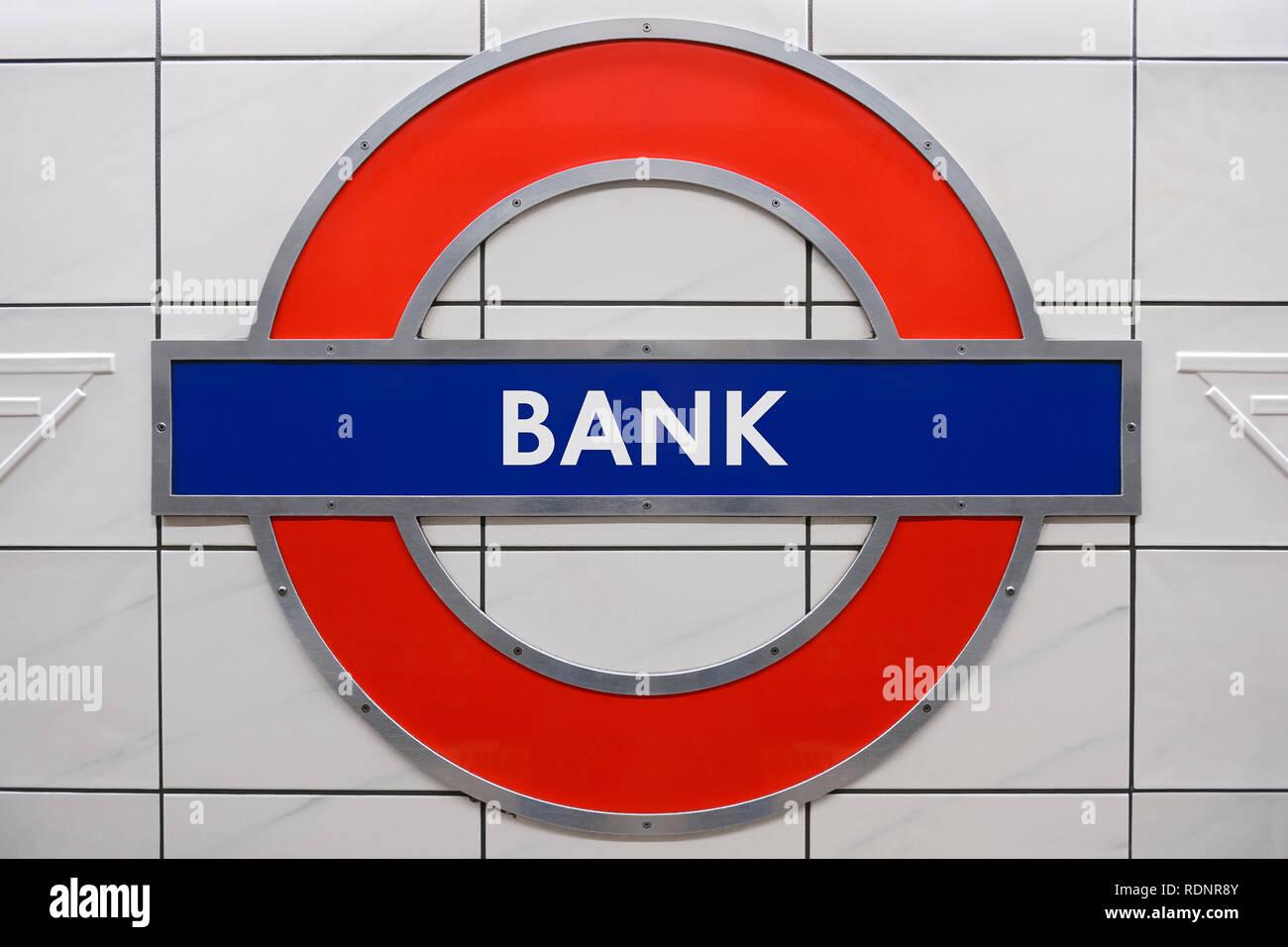 Bank Underground Station Sign, London, United Kingdom - Stock Image