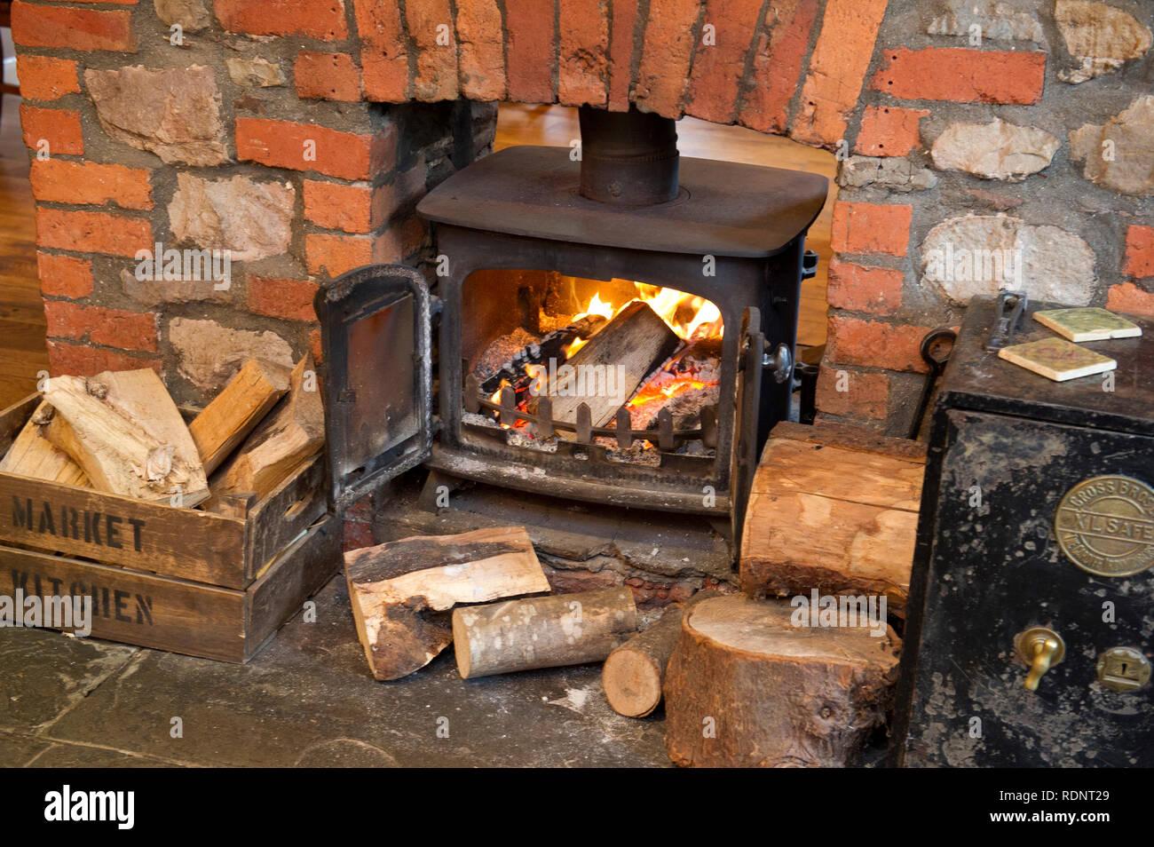 Wood burning stove - Stock Image