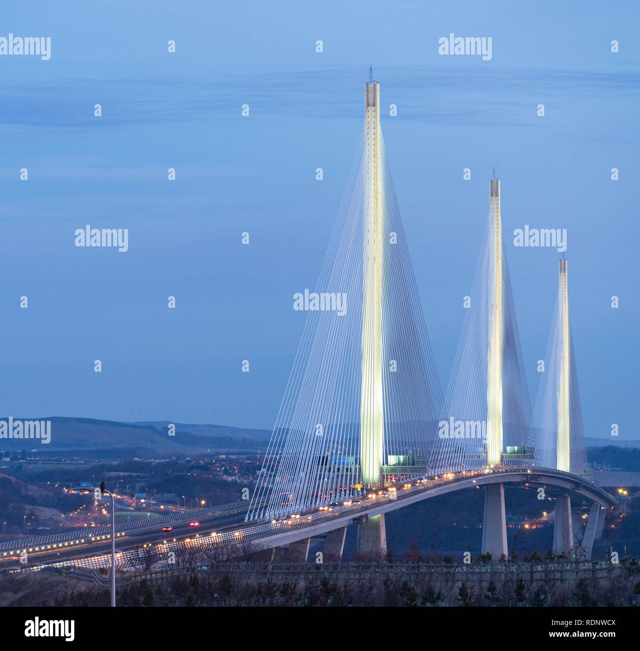 View at sunrise of Queensferry Crossing Bridge spanning the Firth Of Forth river at South Queensferry in Scotland, UK - Stock Image