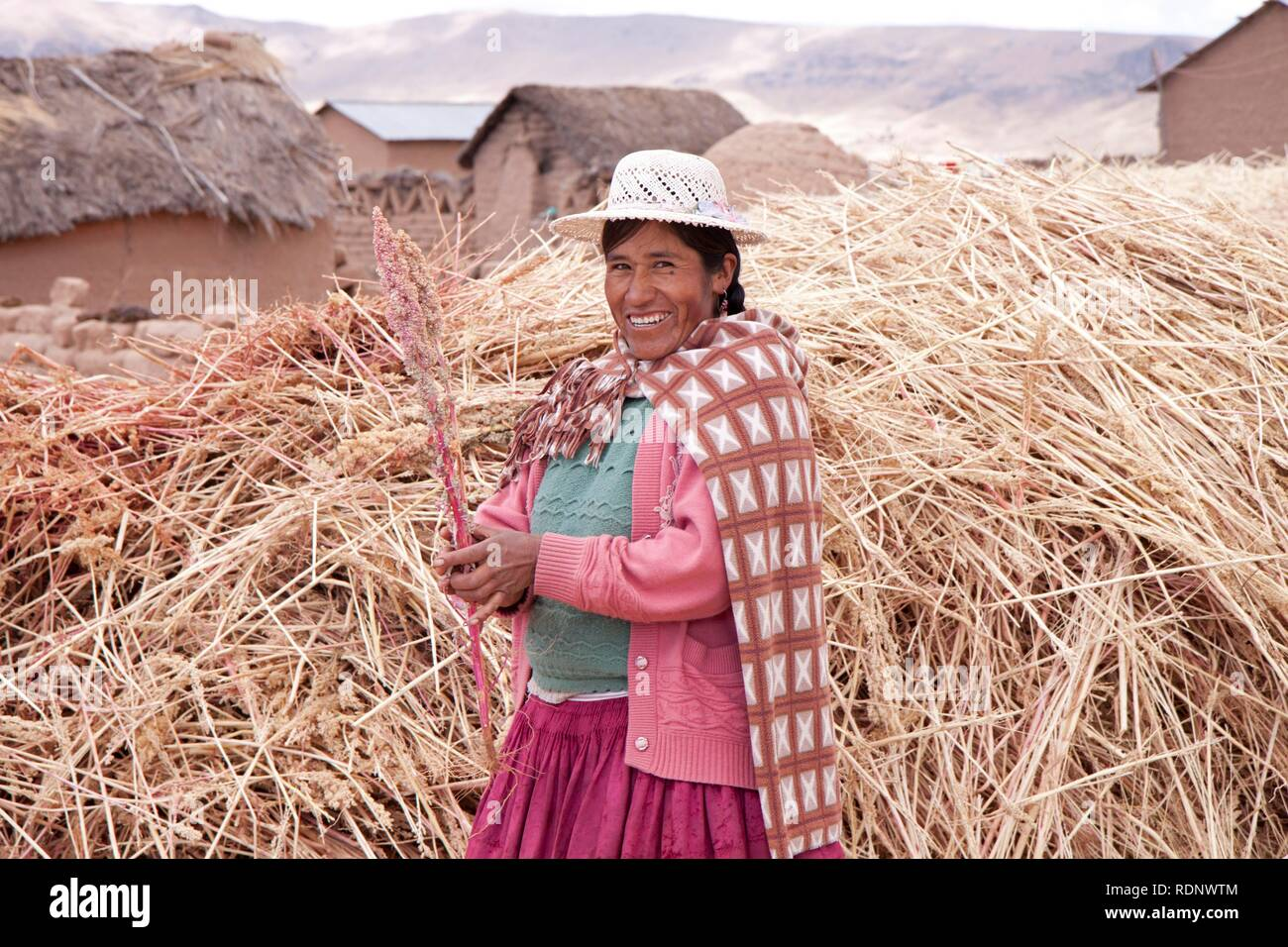 Traditionally dressed woman on a farm in July, Puno, Peru, South America - Stock Image