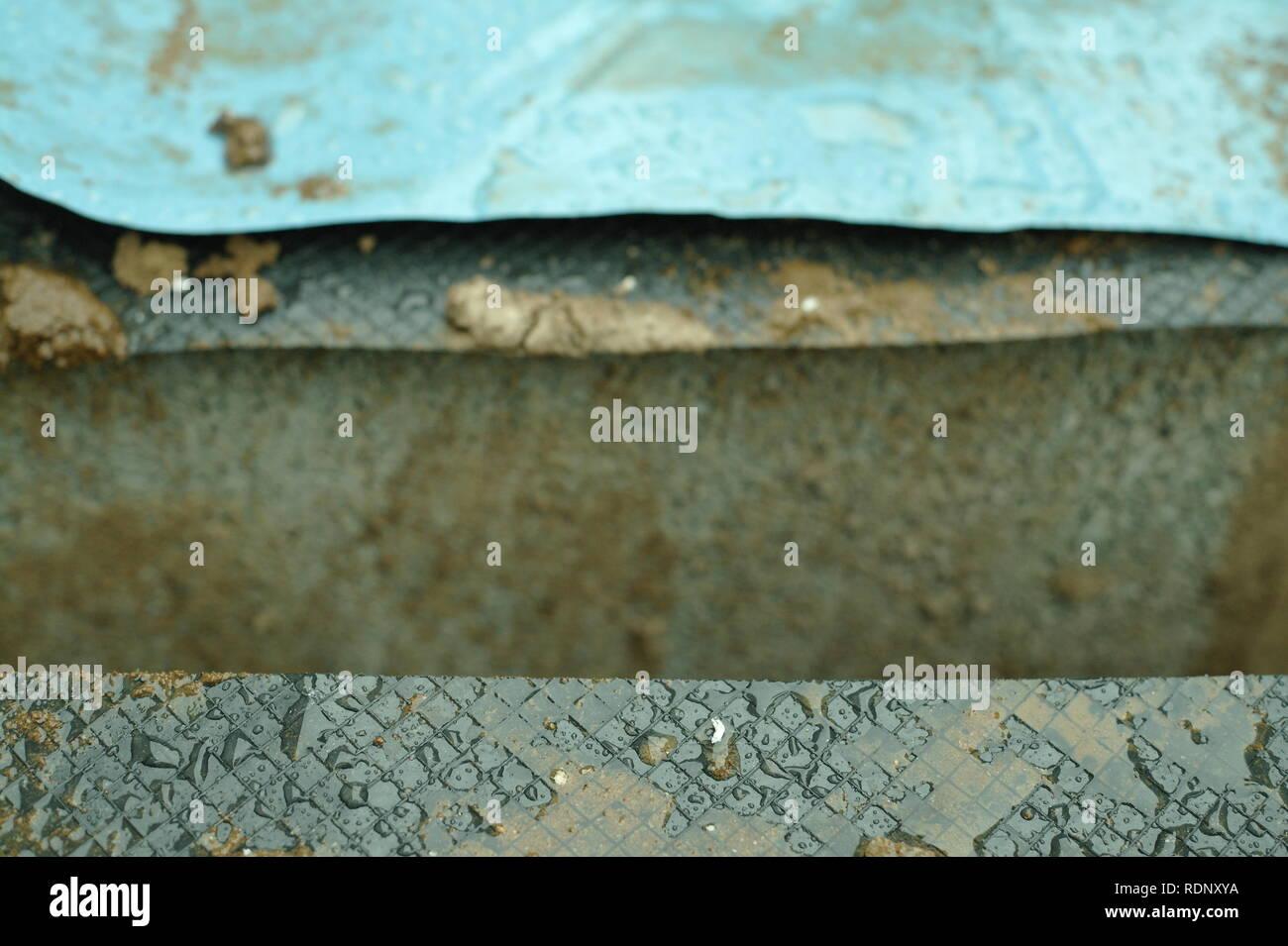 DPC damp proof course and Radon barrier sheet on new construction detail. - Stock Image