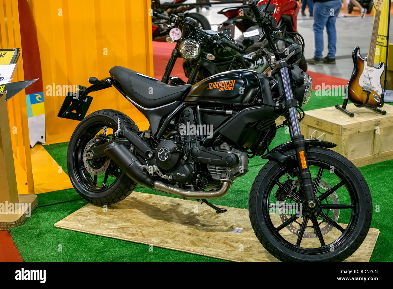 Malaga, Spain - May 20, 2018. The Ducati Scrambler is a L-twin engined standard or roadster motorcycle made by Ducati presented at Salon Moto & Bike A - Stock Image