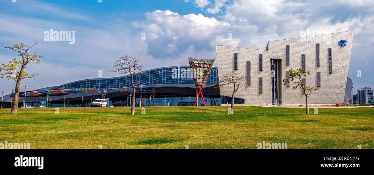 Malaga, Spain - May 20, 2018. Trade Fair and Congress Center of Malaga, Spain. This building has a total area of 60,000 m2, of which 17,000 m2 are ded - Stock Image