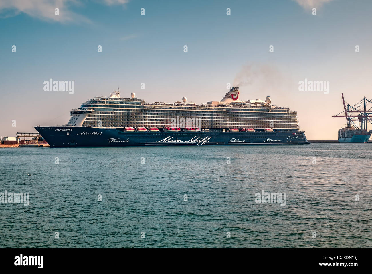 Malaga, Spain - August 23, 2018. Mein Schiff 6 cruise ship, owned and operated by TUI AG and RCCL (Royal Caribbean Cruises Ltd), docked at the port of - Stock Image