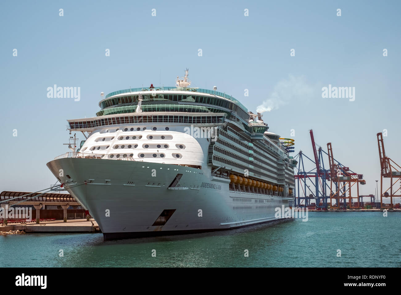 Malaga, Spain - June 26, 2018. Royal Caribbean Independence of the Seas cruise ship docked at the port of Malaga city, Costa del Sol, Malaga Province, - Stock Image