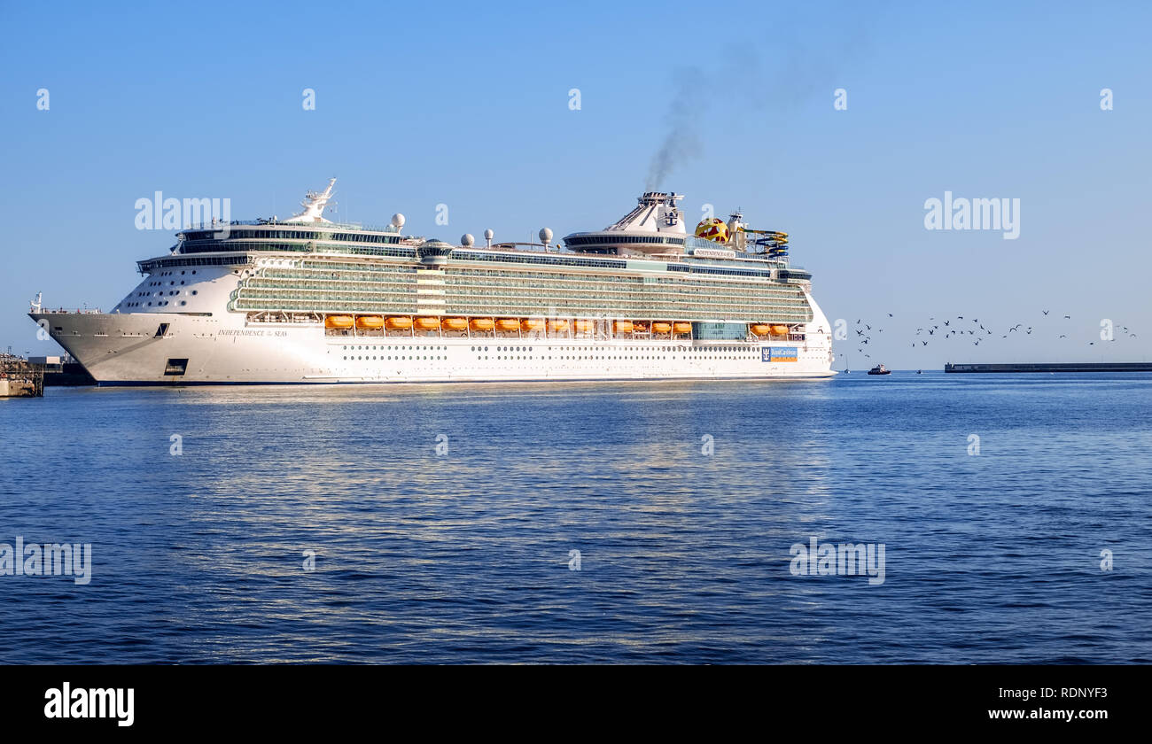 Malaga, Spain - August 21, 2018. Royal Caribbean Independence of the Seas cruise ship docked at the port of Malaga city, Costa del Sol, Malaga Provinc - Stock Image
