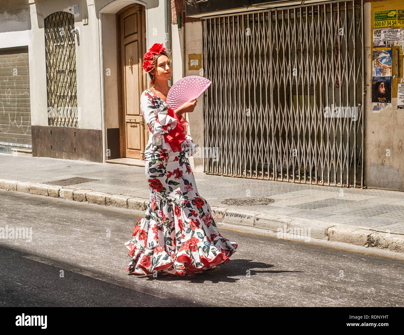 Malaga, Spain - August 11, 2018. Feria de Malaga is an annual event that takes place in mid-August and is one of the largest fiestas in Spain - Stock Image