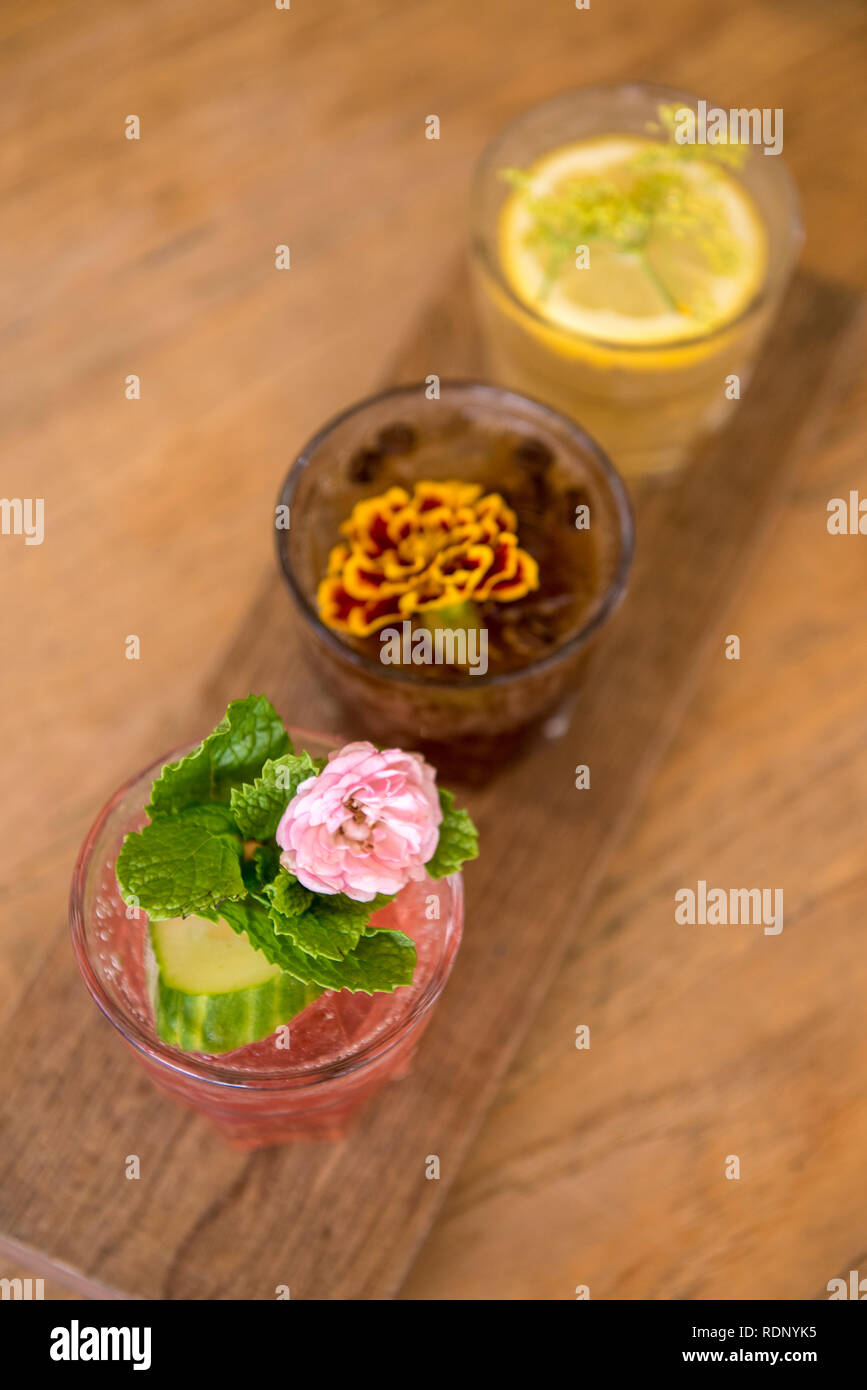 A display of three fancy sodas at Six Barrel Soda in the Hannah Factory Laneway in Te Aro, Wellington, New Zealand. - Stock Image