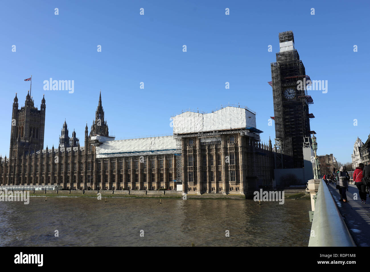 Parliament Westminster during works Stock Photo