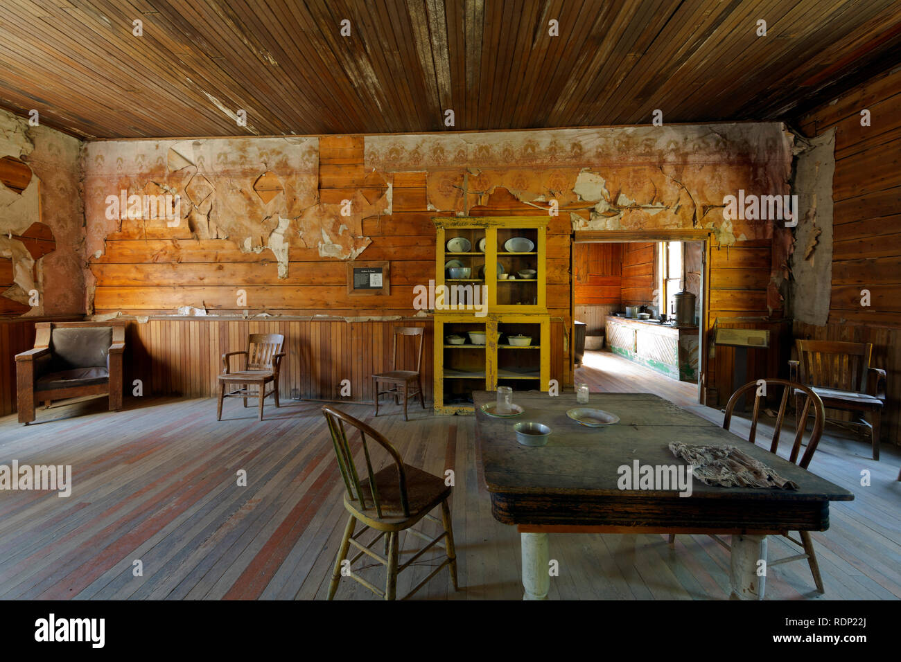 MT00282-00...MONTANA - Dining room at the J.K. Wells Hotel at the historic ghost town of Garnet which is run by the Bureau of Land Management. - Stock Image