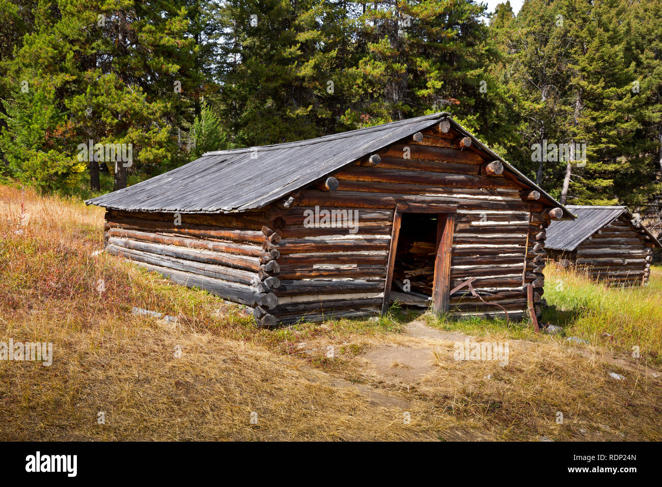 MT0290-00...Small cabin which once served as a home for a miner in the ghost town of Garnet. - Stock Image