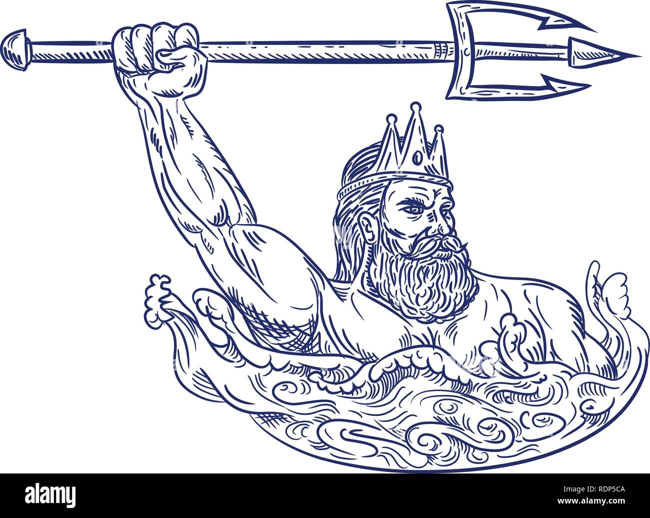 Drawing Sketch Style Illustration Of Triton A Greek God