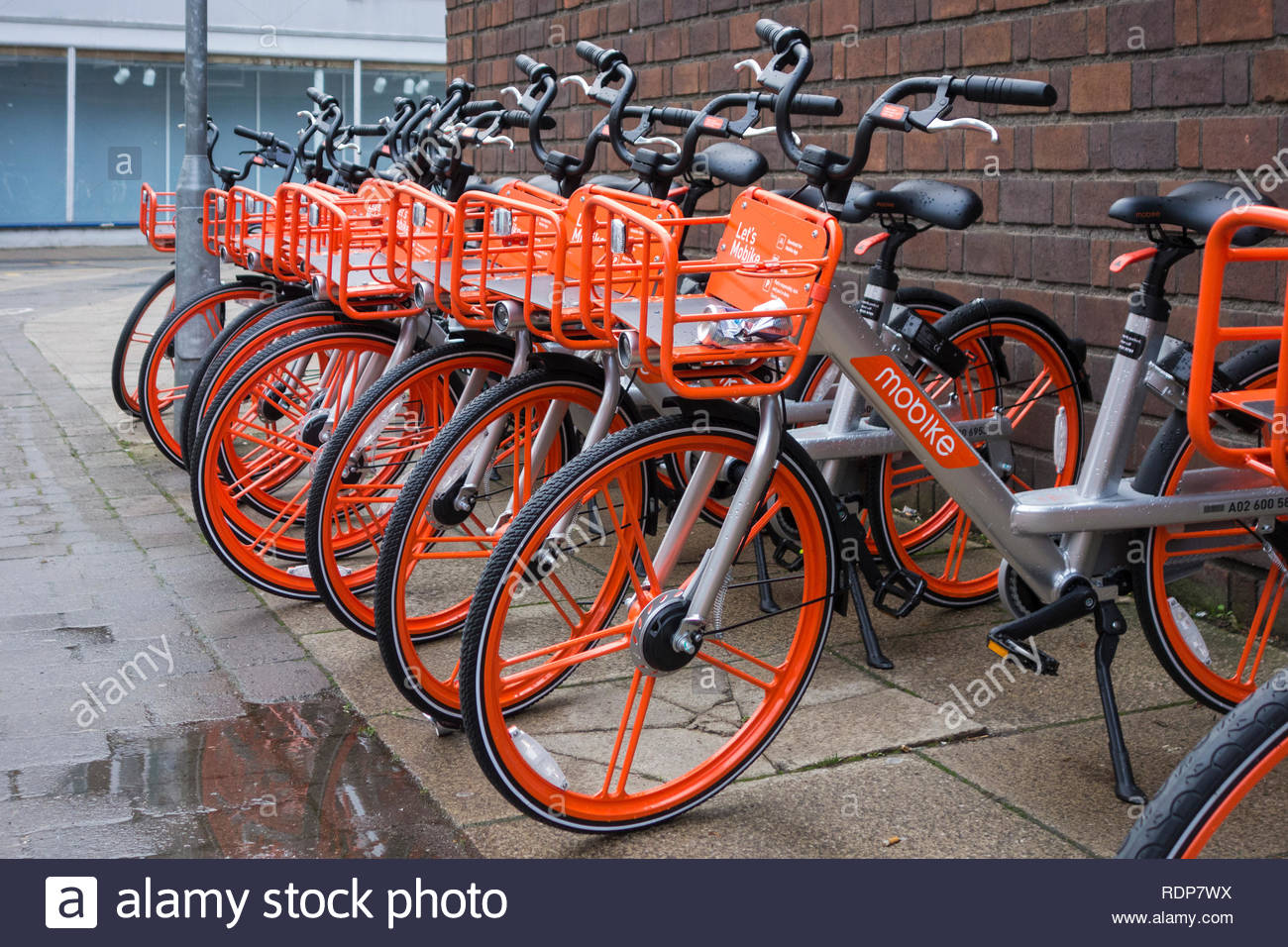 Mobike rental bikes parked ready for customers in Cambridge, Cambs, Cambridgeshire, England, UK. A dockless bikesharing scheme. - Stock Image