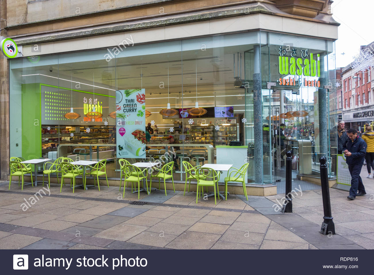Wasabi, a sushi and bento food restaurant in Cambridge, Cambs, Cambridgeshire, England, UK. One of a few branches located outside London. - Stock Image