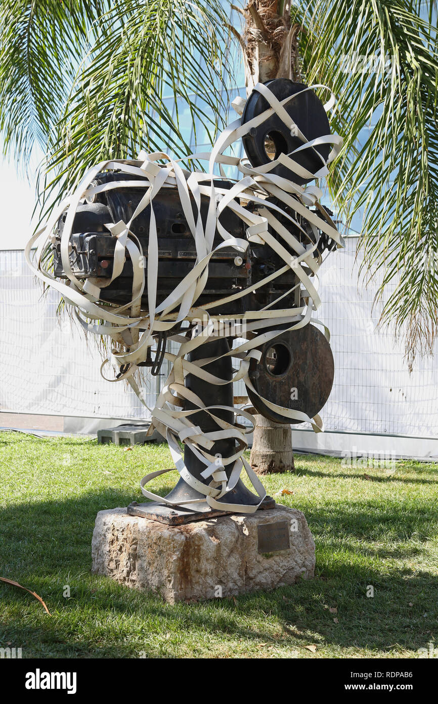 Movie camera sculpture at Cannes in the south of France, home of the famous international Film Festival - Stock Image