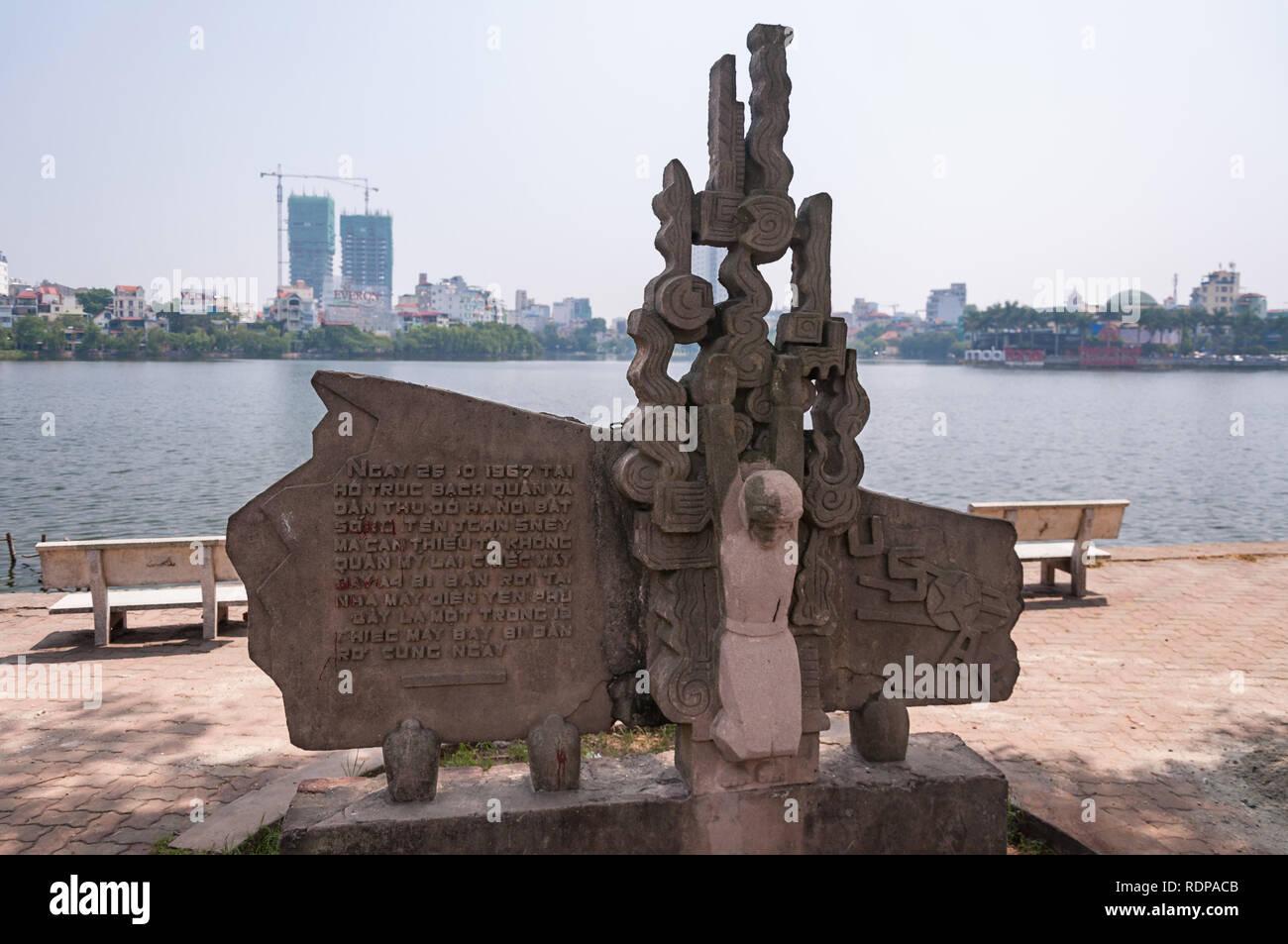 John McCain monument at Trúc Bạch Lake, Hanoi, Vietnam - Stock Image