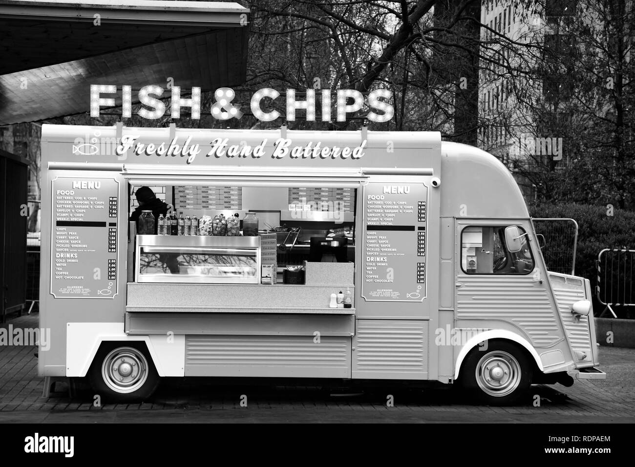Fish and Chips food truck on the Southbank of the Thames in London, England - Stock Image