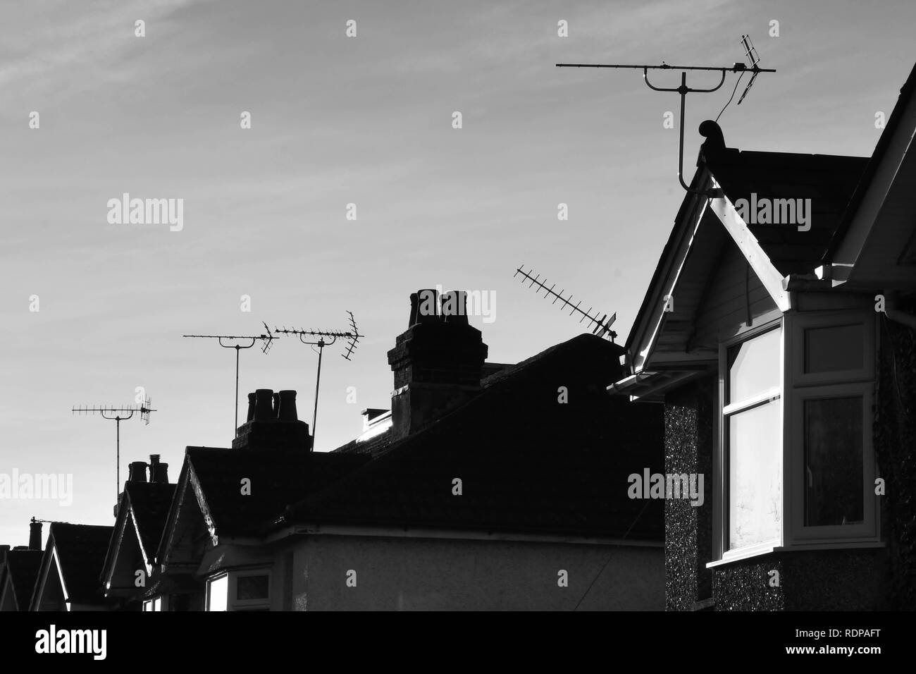 The rooftops of row houses in Southampton, England - Stock Image