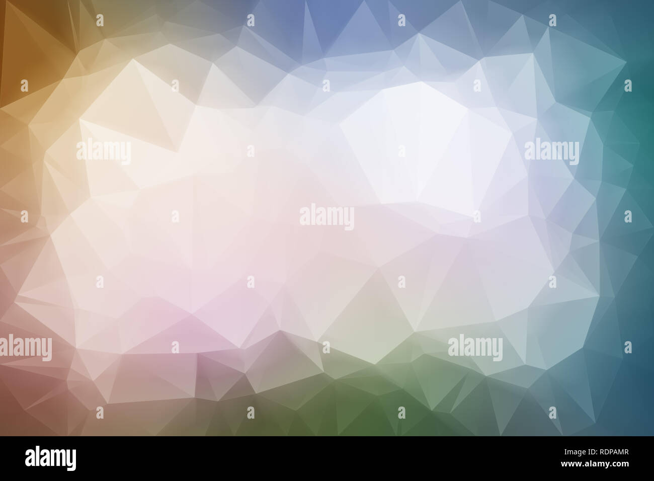 High resolution multi-colored polygon mosaic vector background. Abstract 3D triangular low poly style gradient background. Darker at the edges. - Stock Image
