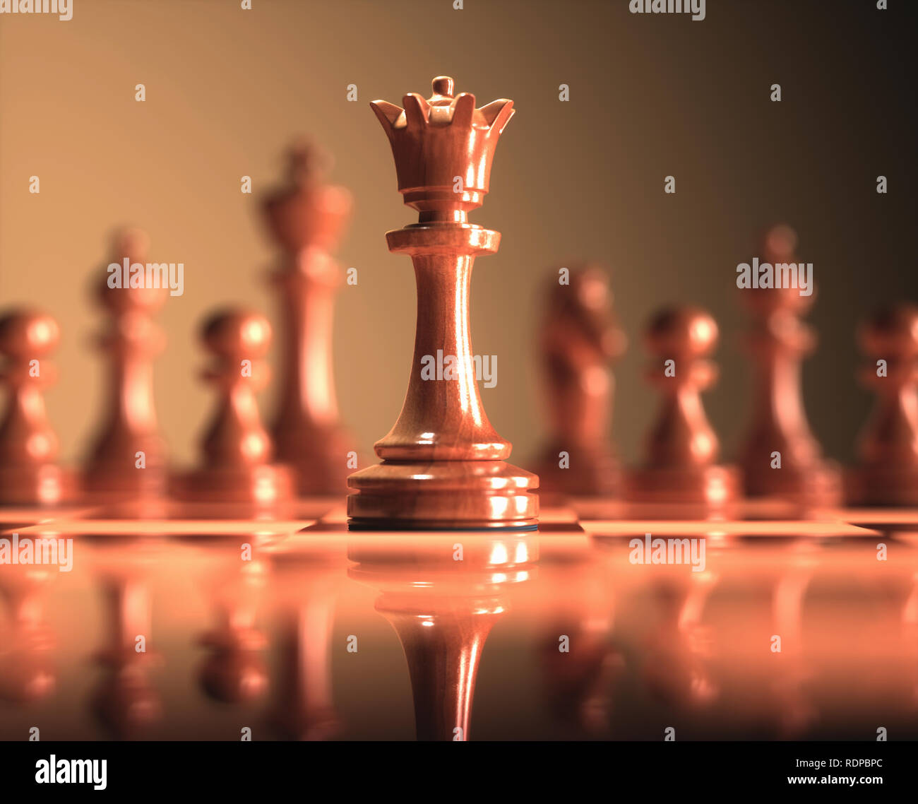 Queen chess piece, illustration. - Stock Image
