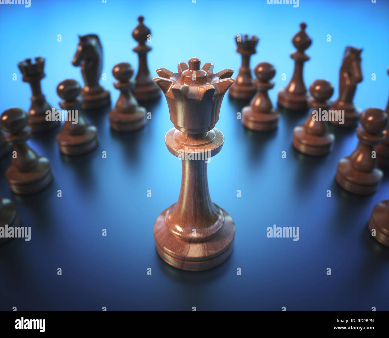 Chess queen surrounded by pieces, illustration. - Stock Image
