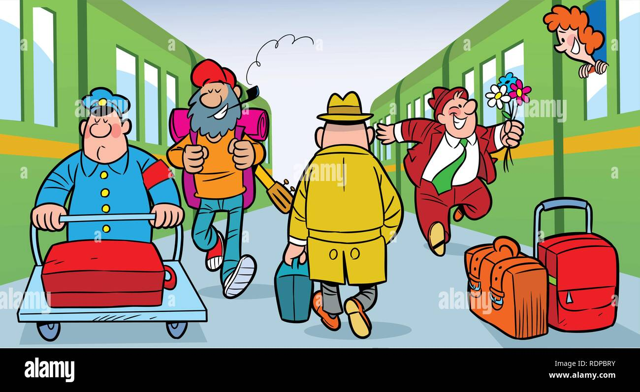 On the illustration is a train station platform, trains and people with luggage. - Stock Vector