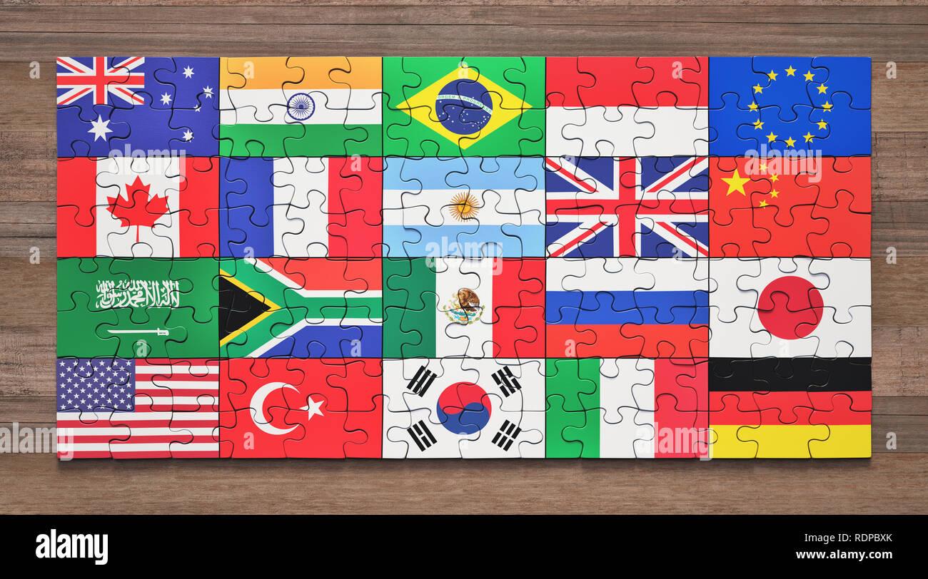 G20 member nation flag jigsaw puzzles, illustration. - Stock Image