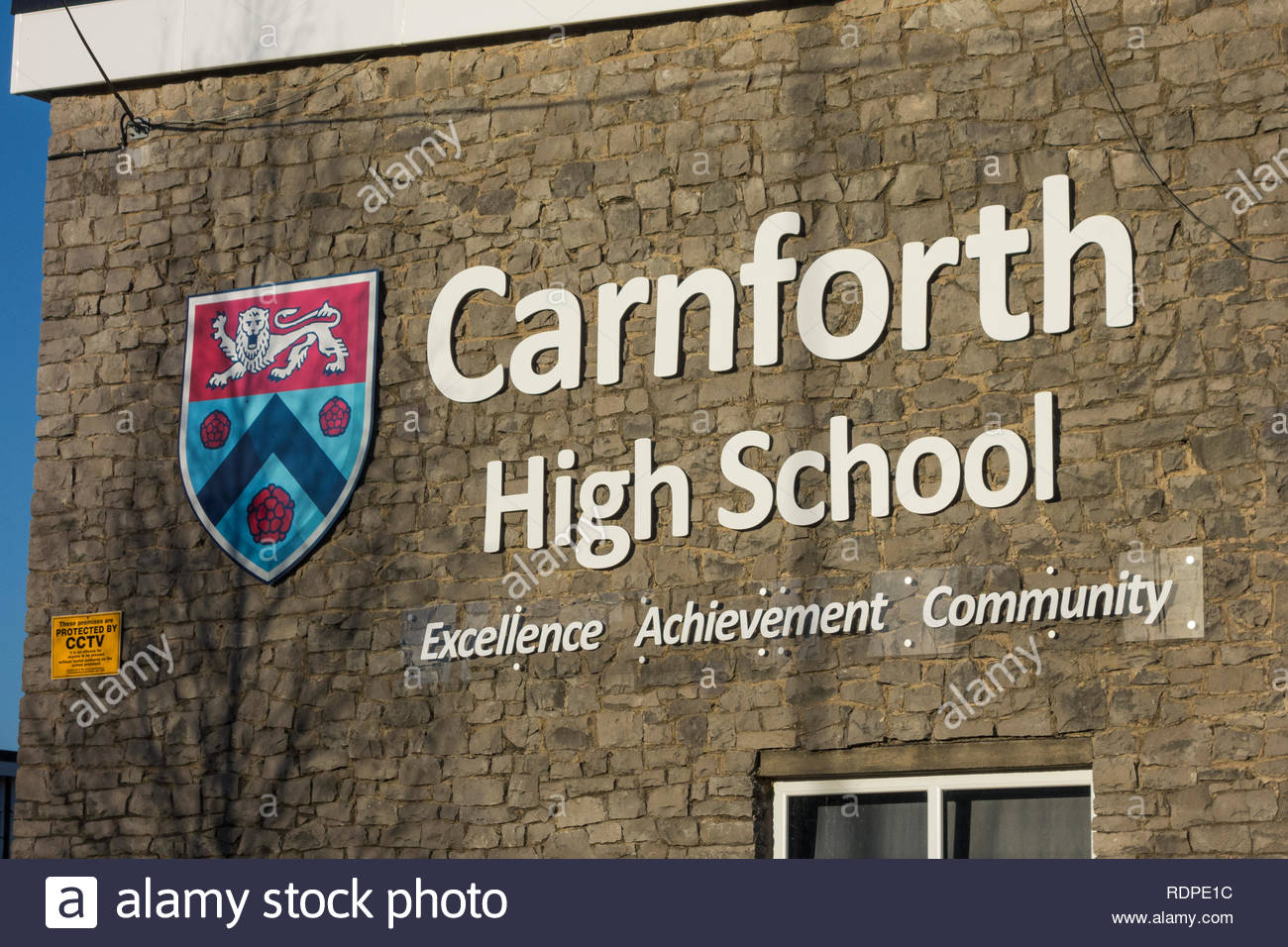 Sign for Carnforth High School, a Secondary Education school in Carnforth, Lancashire, England, UK - Stock Image