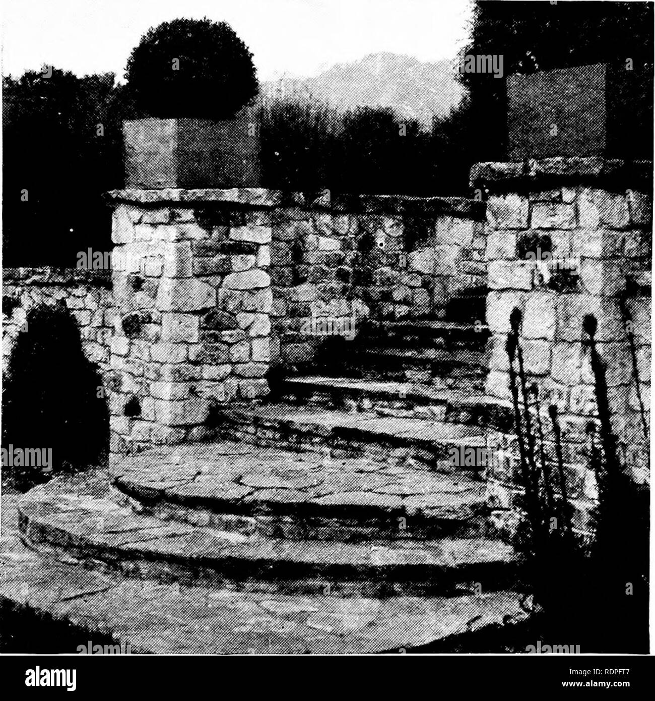. The rock garden. Rock gardens. Fig. 25.—Bold Stone Steps devoid of Vegetation.. Please note that these images are extracted from scanned page images that may have been digitally enhanced for readability - coloration and appearance of these illustrations may not perfectly resemble the original work.. Jenkins, Edmund Howard, 1856-1921. London, Country life, ltd. [etc. ]; New York, C. Scribner's sons - Stock Image