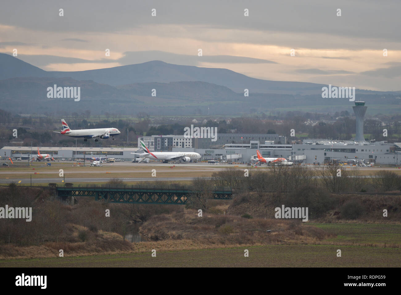 Edinburgh    January  18 2019;   General view of Edinburgh Airport.  credit steven scott taylor / alamy live news Stock Photo