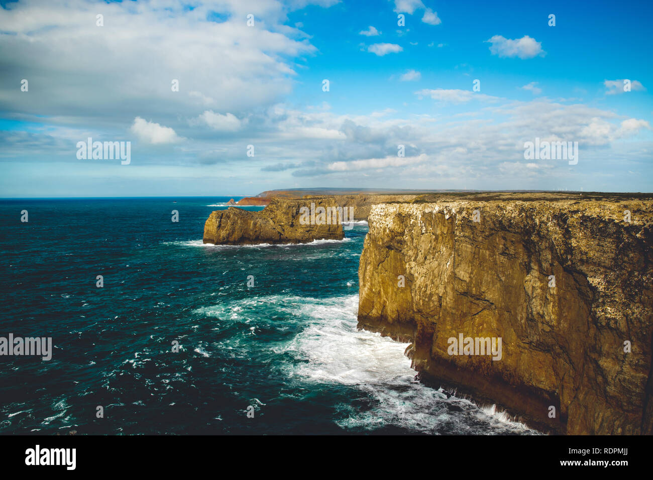 Sunny Cliffs in Portugal at the ocean Stock Photo