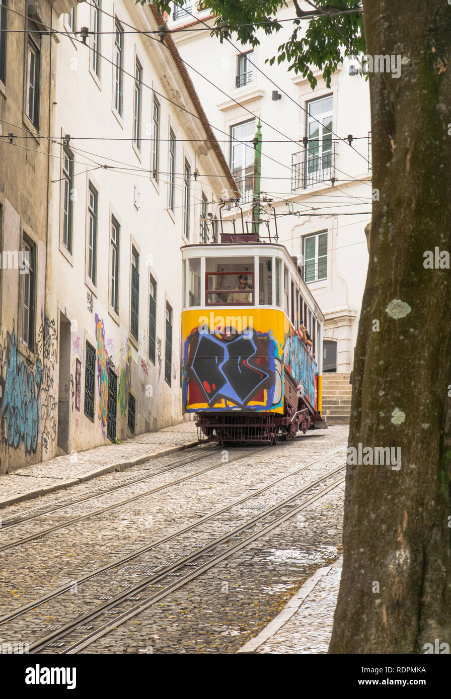 Cable car in Lisbon - Stock Image