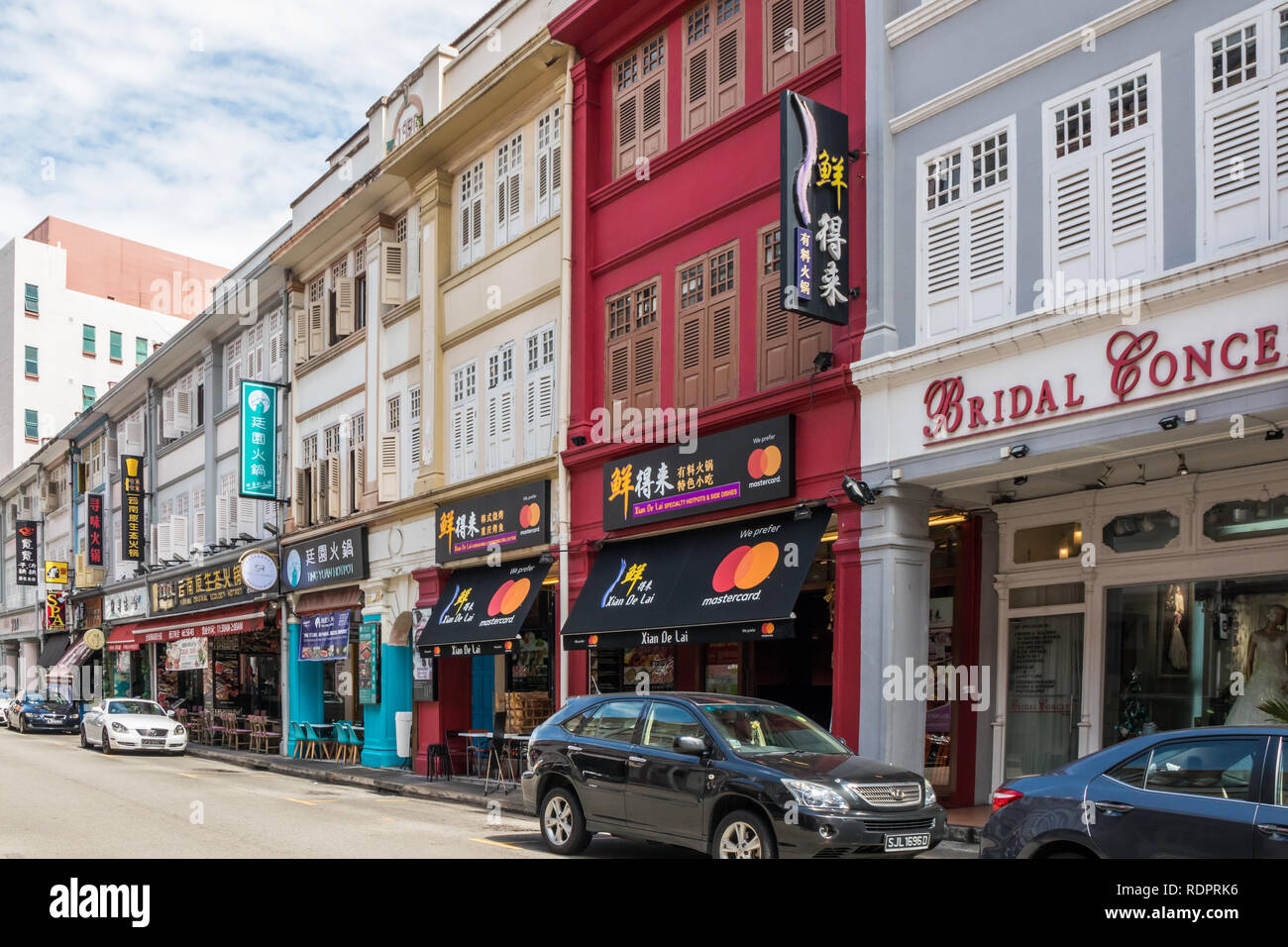 Singapore - 26th December 2018: Typical shophouses on Liang Seah Street. The street is in the Bugis area. - Stock Image