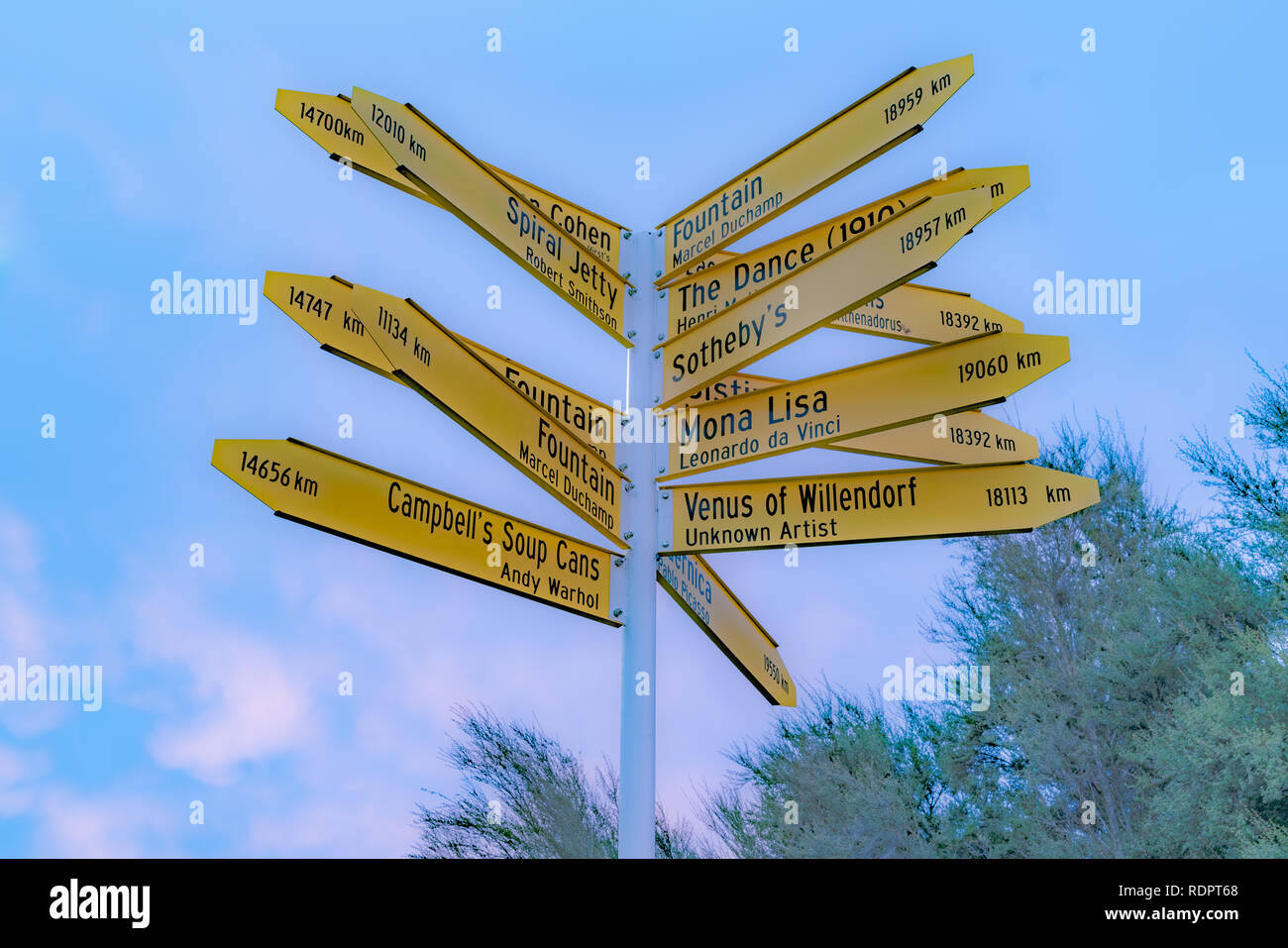 Famous places pointed by sign in Christchurch New Zealand - Stock Image