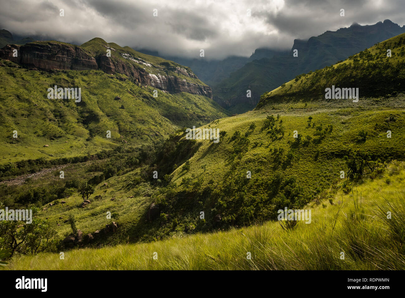 Mountain views on the Thukela hike to the bottom of the Amphitheatre's Tugela Falls in the Royal Natal National Park, Drakensberg, South Africa Stock Photo