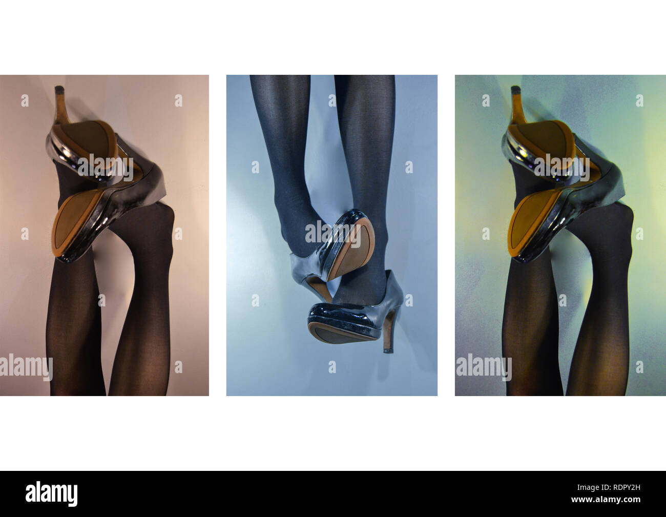 Triptick of legs wearing high heel shoes in different colours - Stock Image
