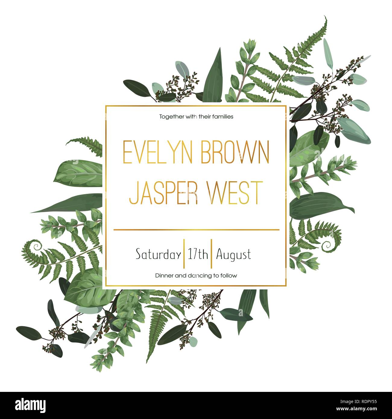 Wedding floral invitation, invite card. Vector watercolor green forest leaf, fern, branches boxwood, buxus, eucalyptus. Natural, botanical decorative  - Stock Image