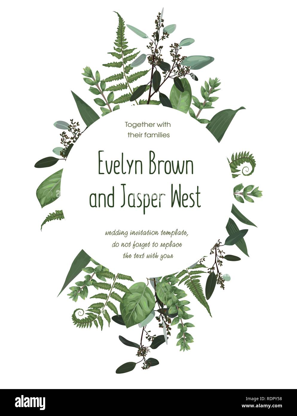 Wedding floral invitation, invite card. Vector watercolorgreen forest leaf, fern, branches boxwood, buxus, eucalyptus. Natura, botanical green decorat - Stock Image