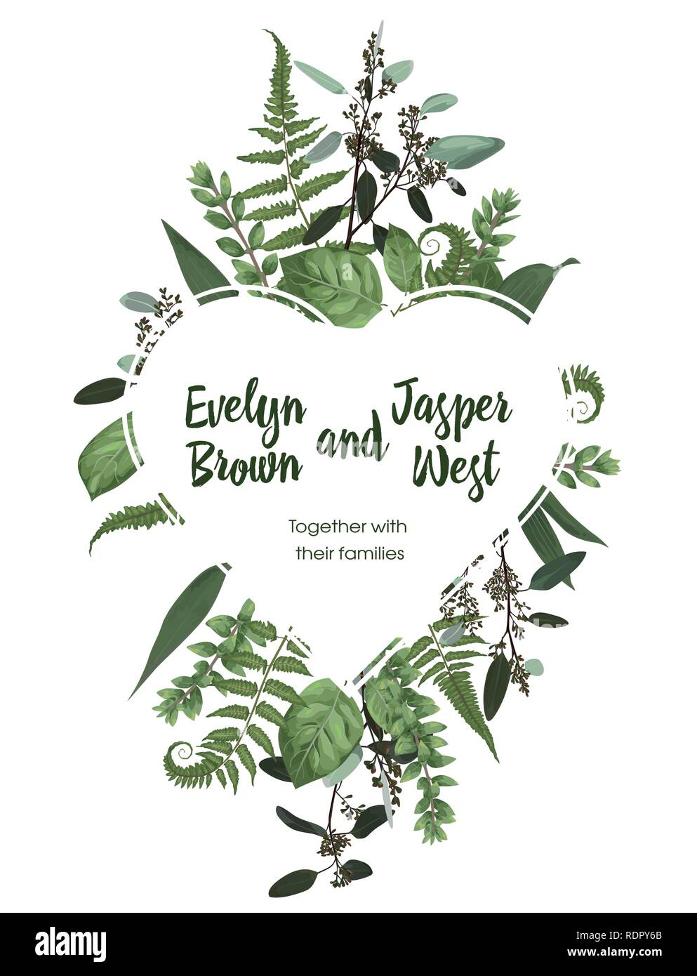 Valentine greeting card, invite card. Vector watercolor style herbs, eucalyptus,  forest fern, waxflower. Natural, branches boxwood, buxusDecorative h - Stock Image