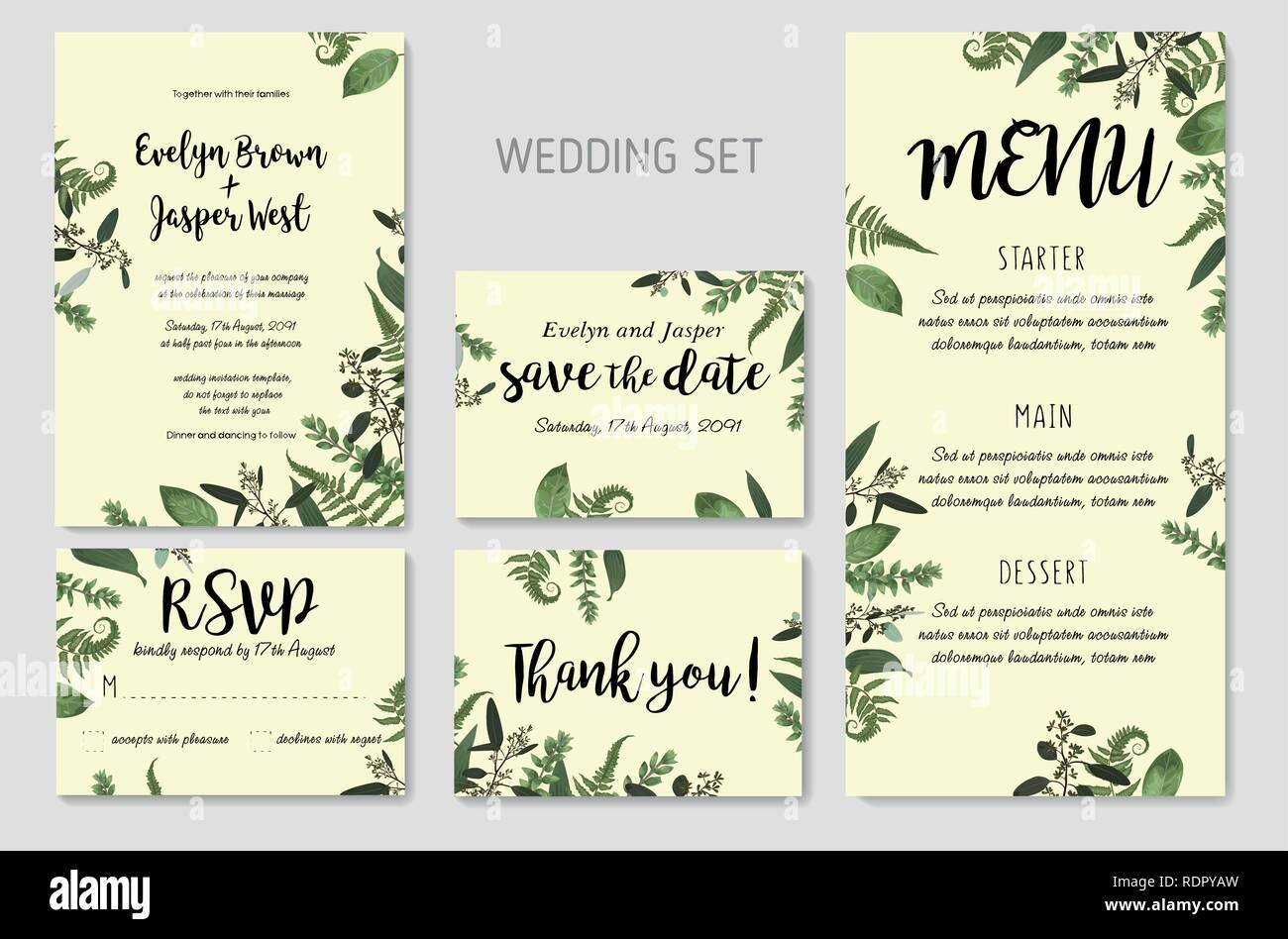 Wedding Invitation Floral Invite Thank You Rsvp Card