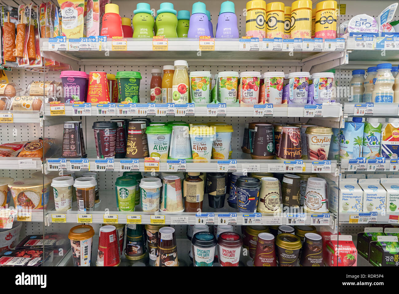 SEOUL, SOUTH KOREA - CIRCA MAY, 2017: goods on display at GS25 convenience store in Seoul. GS25 is a convenience store brand in South Korea. Stock Photo