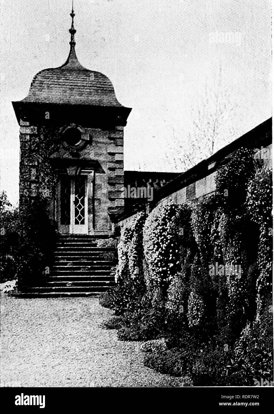 . Gardens for small country houses . Gardens, English. 2l8 Garden-houses. adjoining balustrade are ashlar-built of Bath stone, and the roof is covered with the stone slates which are the crowning glory of Cotswold manor houses. In Fig. 317 is illustrated a terrace pavilion with a roof of ogee outline which is typically Scottish. It groups delightfully with a house of austere eighteenth century character which was designed by William Adam, father of the famous brothers who- left such an indelible mark on our national buildings. Though this chapter deals chiefly with garden-houses of solid const - Stock Image