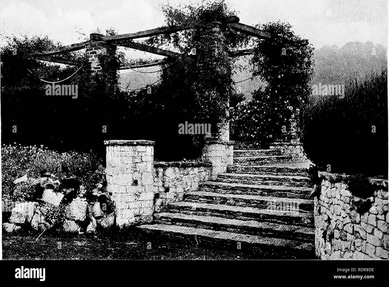 . Gardens for small country houses . Gardens, English. i84 Gardens for Small Country Houses.. FIG. 261.—PIERS OF BRICK AND STONE.. Please note that these images are extracted from scanned page images that may have been digitally enhanced for readability - coloration and appearance of these illustrations may not perfectly resemble the original work.. Jekyll, Gertrude, 1843-1932; Weaver, Lawrence, Sir, 1876-. London : Published at the offices of Country Life . .. and by George Newnes . .. ; New York : Charles Scribner's Sons - Stock Image