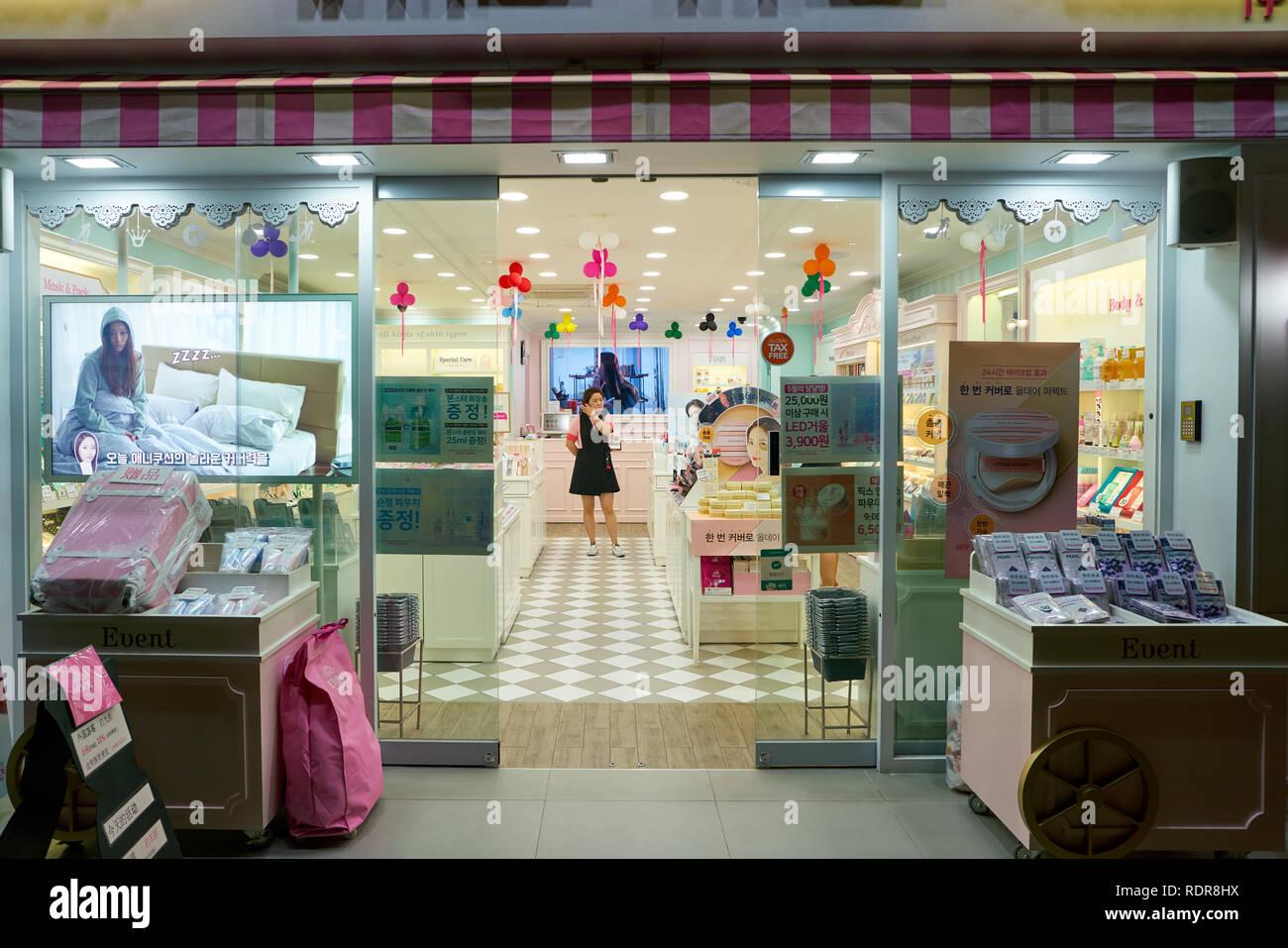 SEOUL, SOUTH KOREA - CIRCA MAY, 2017: cosmetics shop in Seoul. Stock Photo