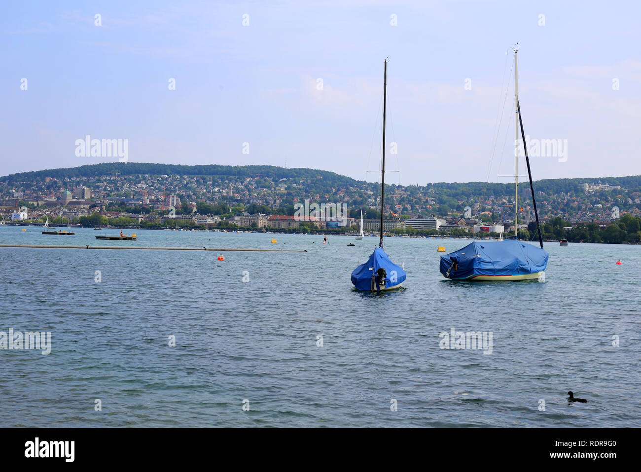 Beautiful landscape from Lake Zürich area in Zürich, Switzerland. In this photo you can see two small sail boats, blue sky and the mountains. - Stock Image