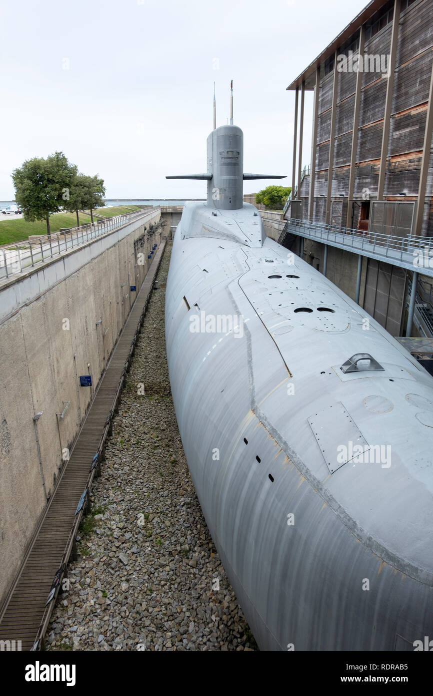 Cherbourg, France - August 26, 2018: Nuclear submarine Le Redoutable of French Navy in the City of the Sea , maritime museum of Cherbourg. France - Stock Image